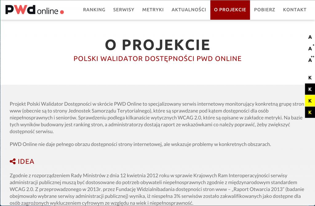 Zrzut ekranu PWD Online o projekcie