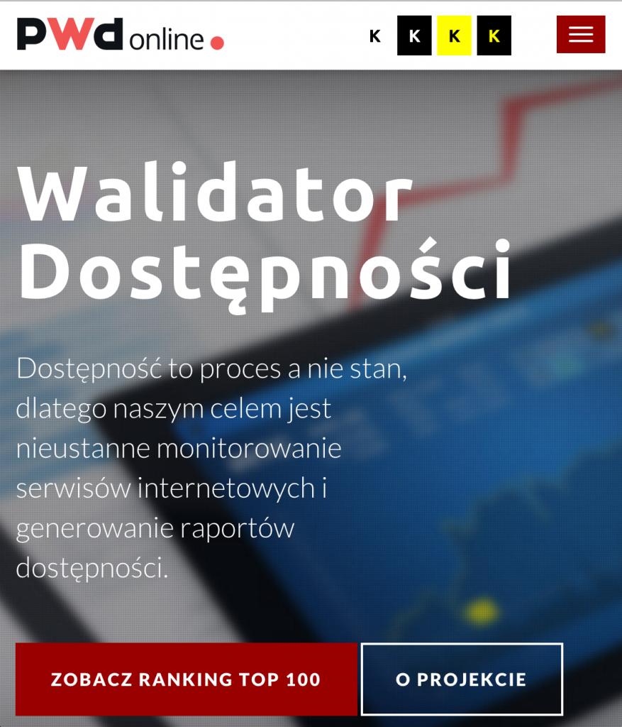 Zrzut ekranu PWD Online strona główna